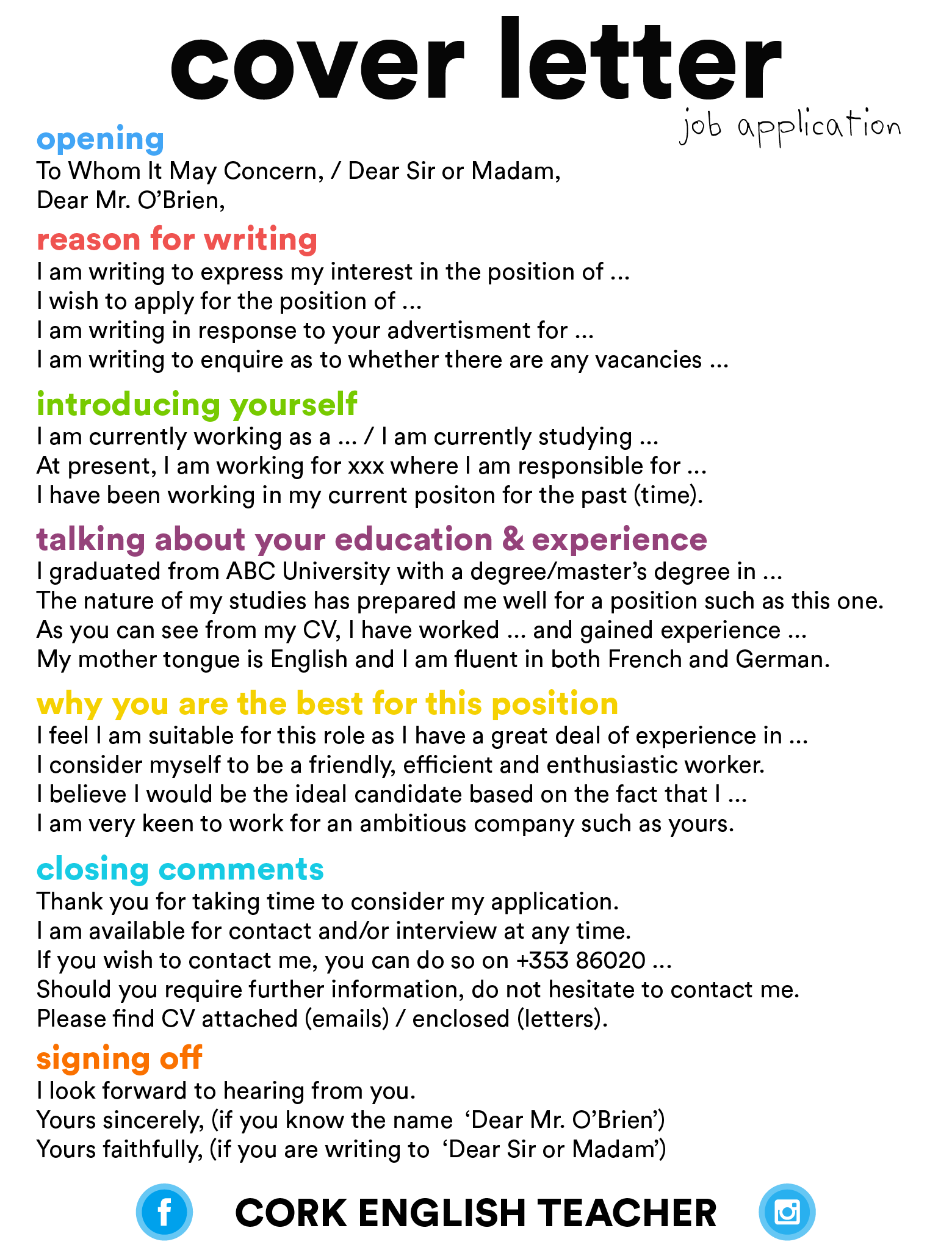 what to put in a covering letter for a job - cover letter job application english language esl