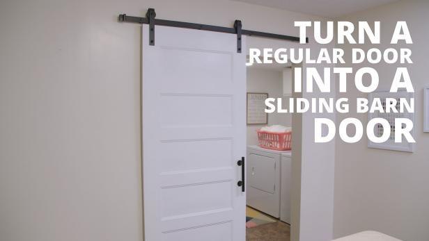 Turn An Ordinary Door Into A Farm Chic Sliding Barn Door With These Easy Steps Barn Doors Sliding Diy Sliding Barn Door Sliding Bathroom Doors