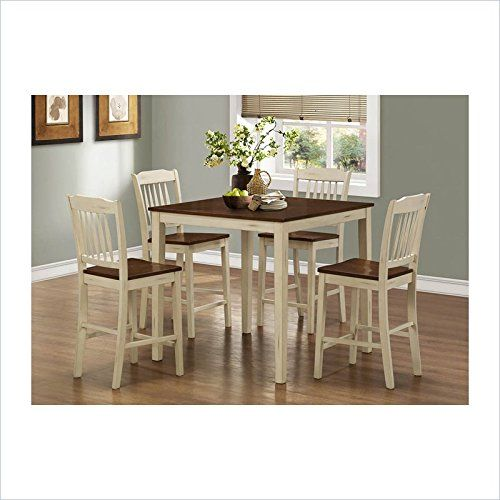 Monarch Specialties Antique White Walnut 5 Piece Counter Height Dining Set Http