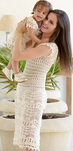 mommy and me crochet dresses   Häkelkleidung   Pinterest