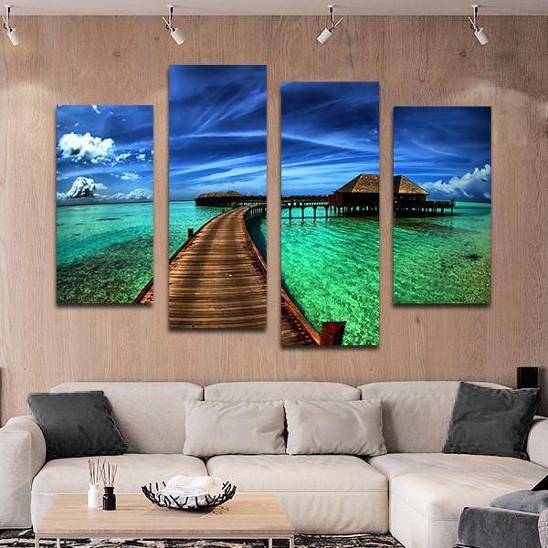 Maldives Bungalow Multi Panel Canvas Wall Art Wall Canvas Beach Wall Art Beach Canvas Wall Art