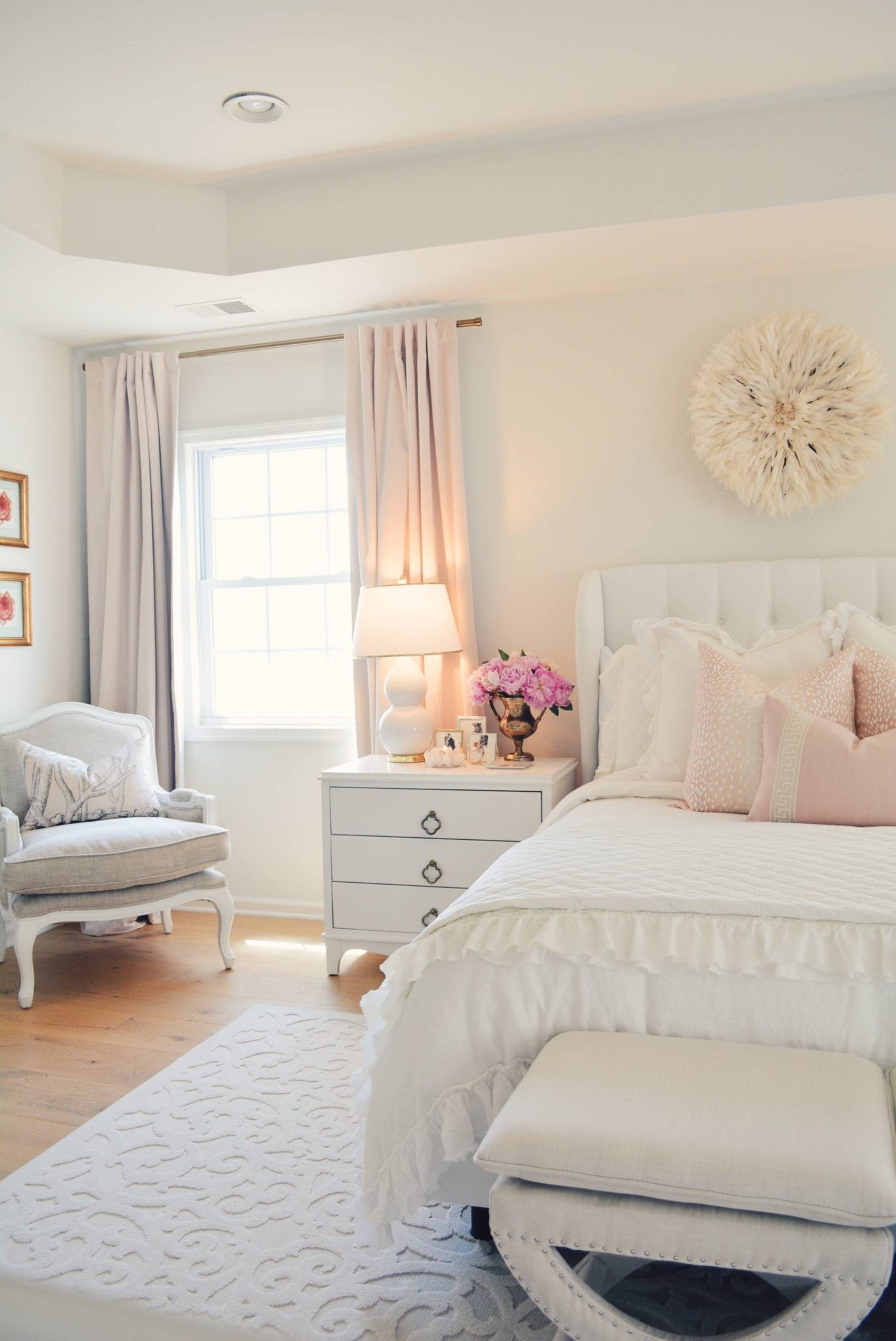 Elegant Romantic Bedrooms: Elegant White Master Bedroom & Blush Decorative Pillows