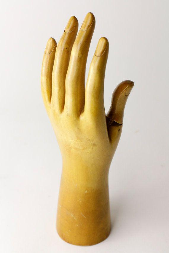 Rare Antique Wooden Mannequin Hand Glove Display Store Display