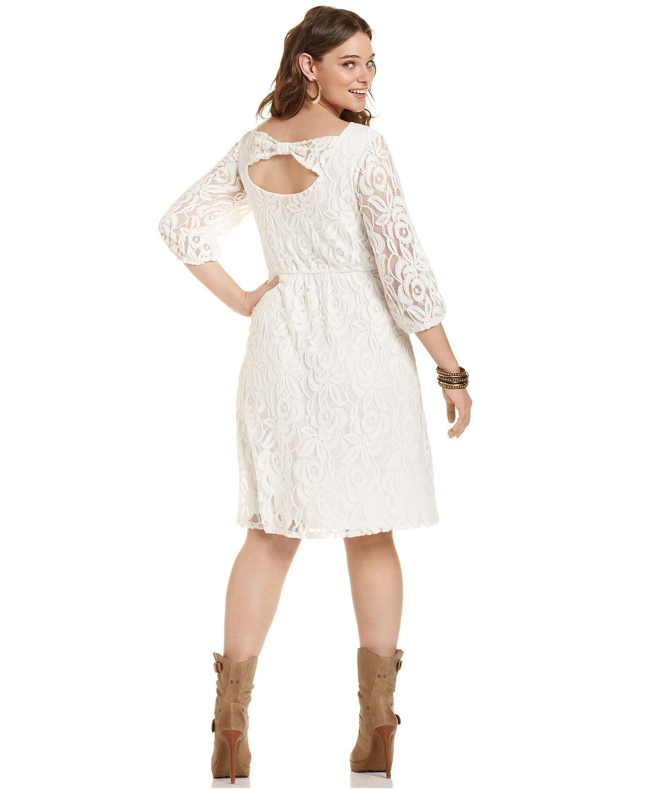 Ing plus size dress three quarter sleeve lace plus size for Macys plus size wedding dresses