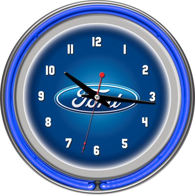 Trademark Global Ford Oval 11 Double Rung Neon Clock Neon Clock