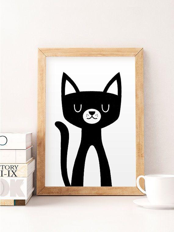 Cat Print, Cute Cat Art, Nursery Wall Art, Funny Kids Print, Cat