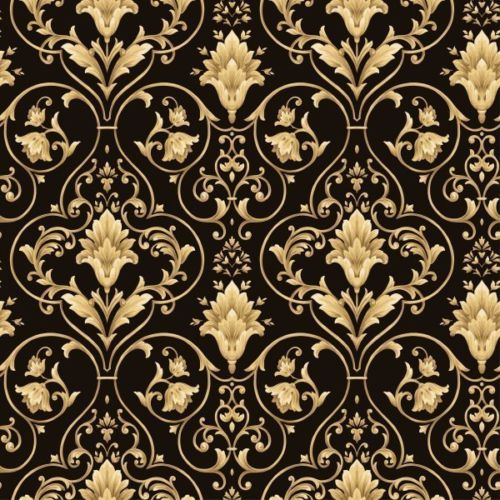 Black and gold victorian scroll wallpaper double rolls for Black gold wallpaper designs