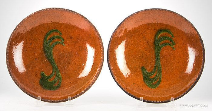 Pair Redware Dishes, Green Triple Quill Slip Decoration, Feature1714