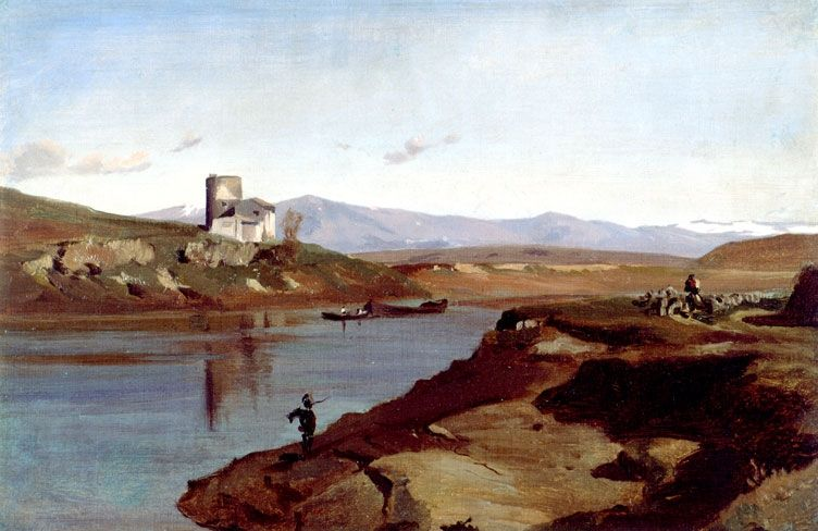 "Jean-Achille Benouville: ""Paysage d'Italie"", Unknown date, oil on canvas,  Dimensions: 23.5 × 36 cm (9.3 × 14.2 in), Current location: Museum of Fine Arts, Rennes."