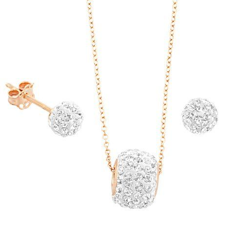 14k Rose Gold over Sterling Silver Crystals Disco Ball Necklace and Earrings Set Kooljewelry. $37.99. Earring secures with butterfly clasp; Crafted in rose gold over sterling silver; Add to your beauty the unique look of this exquisite set; Weighs 1.8 gram(s); 18 inch necklace secures with spring ring closure. Save 70% Off!