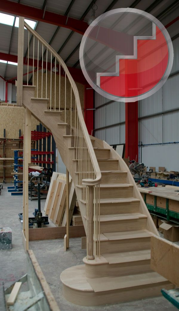 Oak geometric curved stairs | staircases | Curved ...