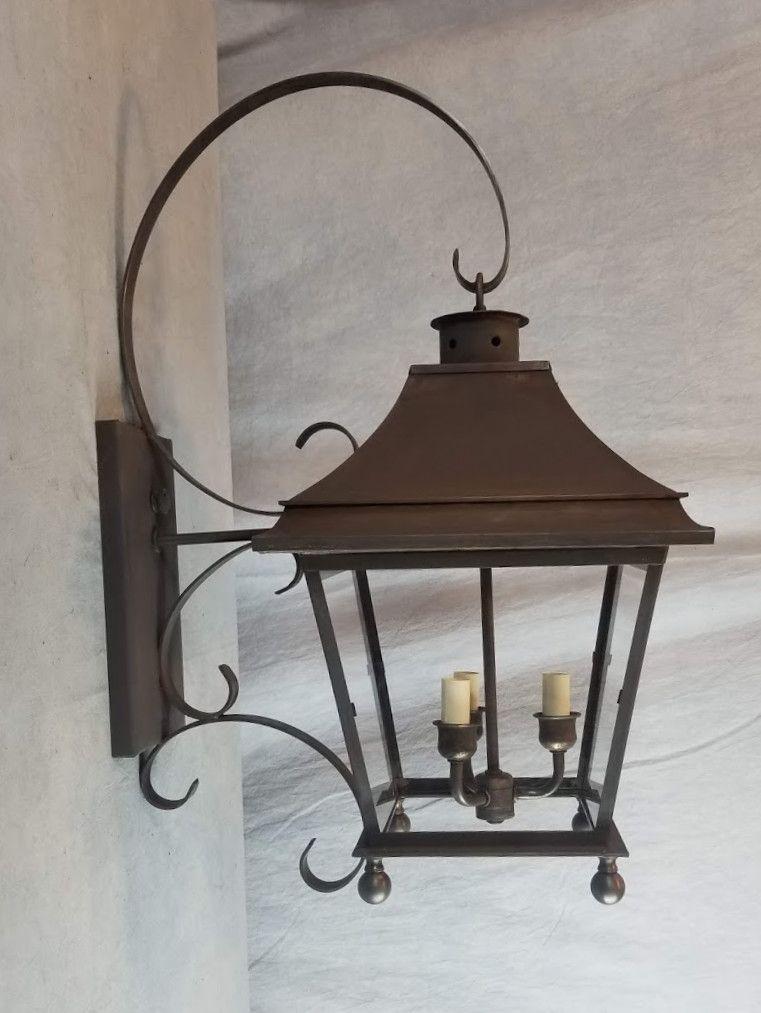 Genie House Bracket Lantern 88311 In Dark Copper With 325 Ball Finials On The Bottom Bracketlightin Exterior Light Fixtures Exterior Lighting Wall Lights