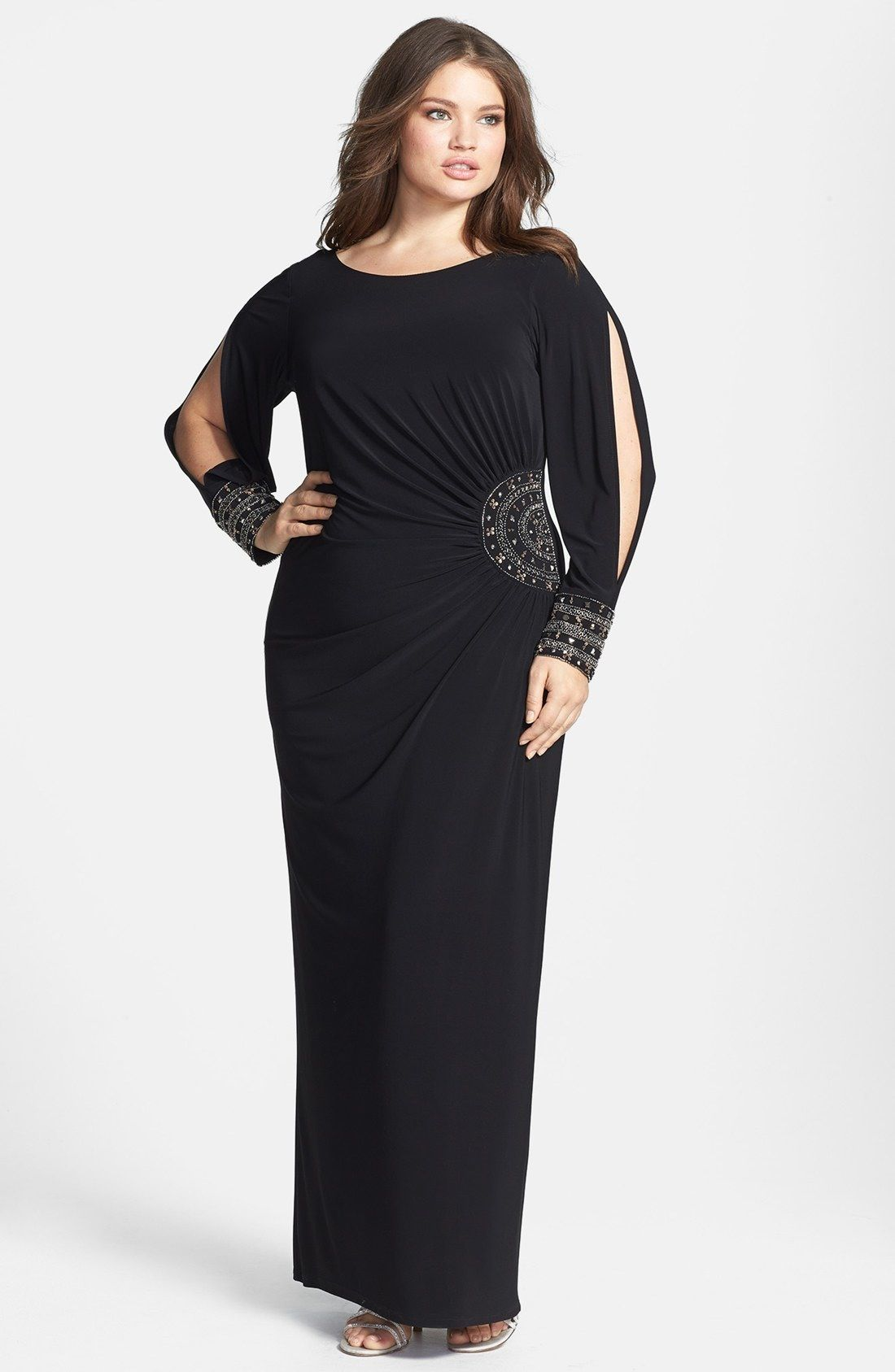 Xscape embellished stretch jersey long dress plus size available