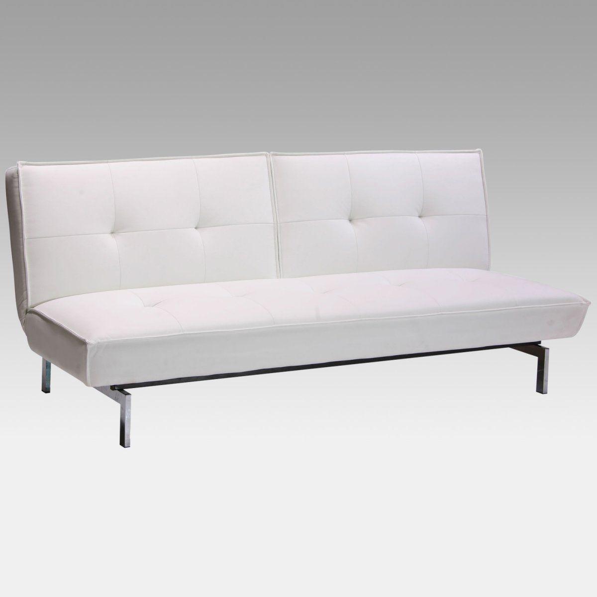 Belle White Faux Leather Convertible Sofa Leather Futon Futon Sofa Sofa