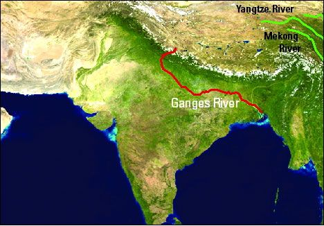 Route of the Ganges River as in AROUND THE WORLD IN EIGHTY DAYS