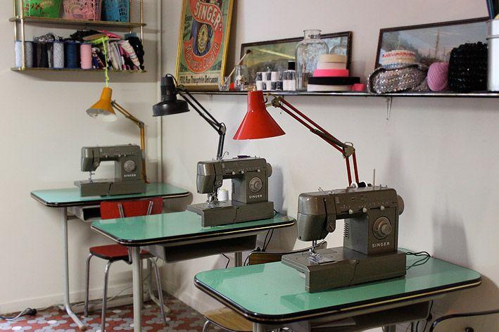 vintage school desks repurposed as sewing tables - cool!