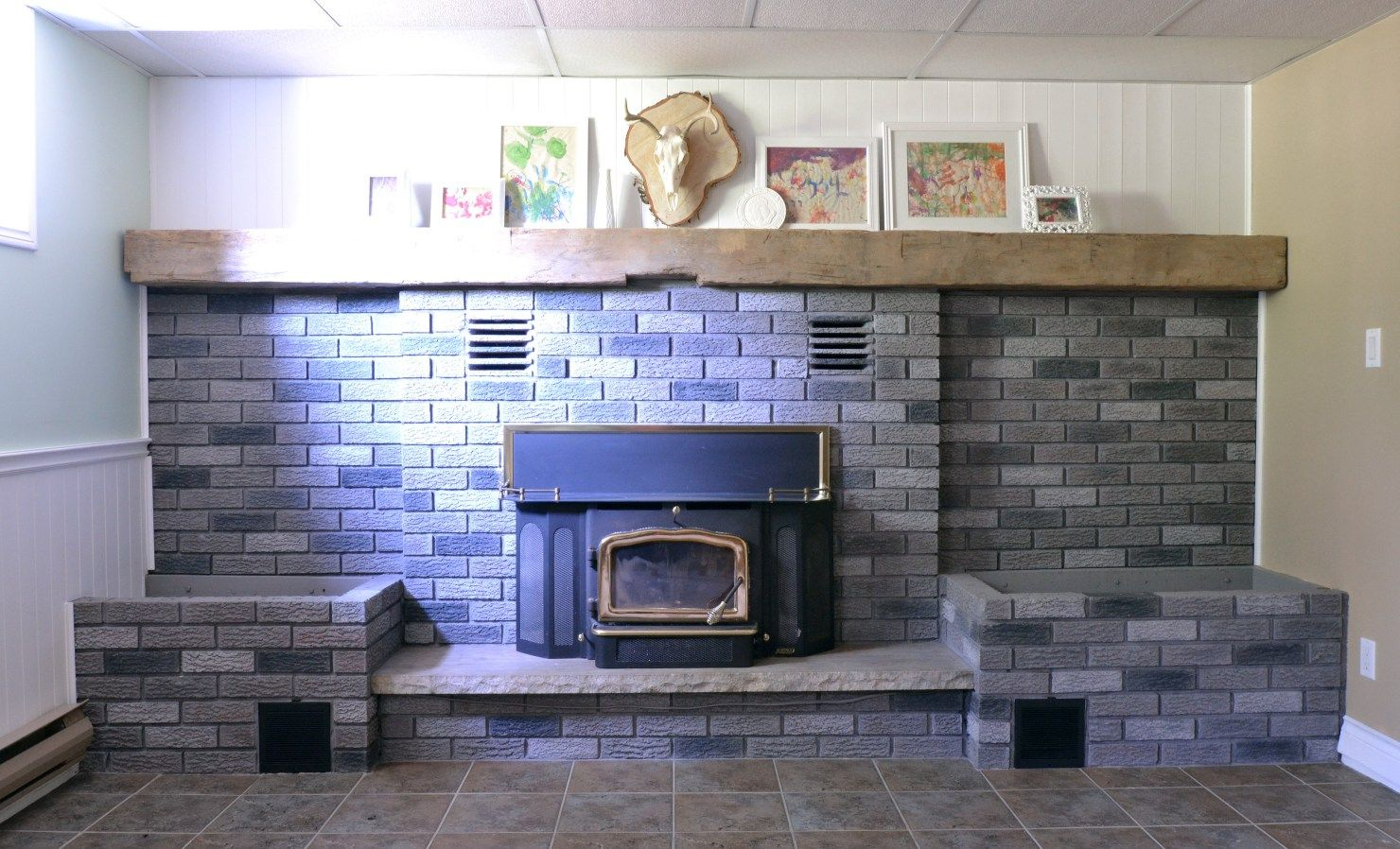 Grey Paint Wash On A Brick Fireplace: Before & After | Brick ...