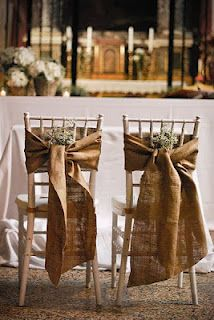 Burlap wrapped chairs...Maybe use for a rustic wedding