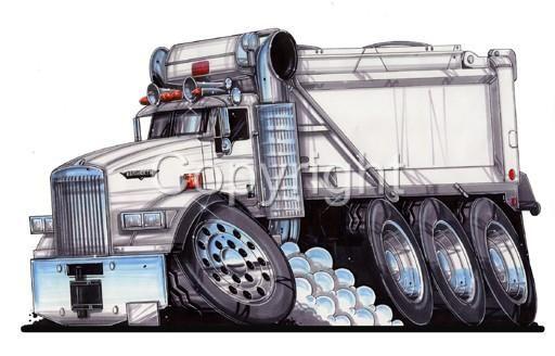 Semi Big Rig Dump Truck Cartoon T Shirt 9183 Hauler With Images
