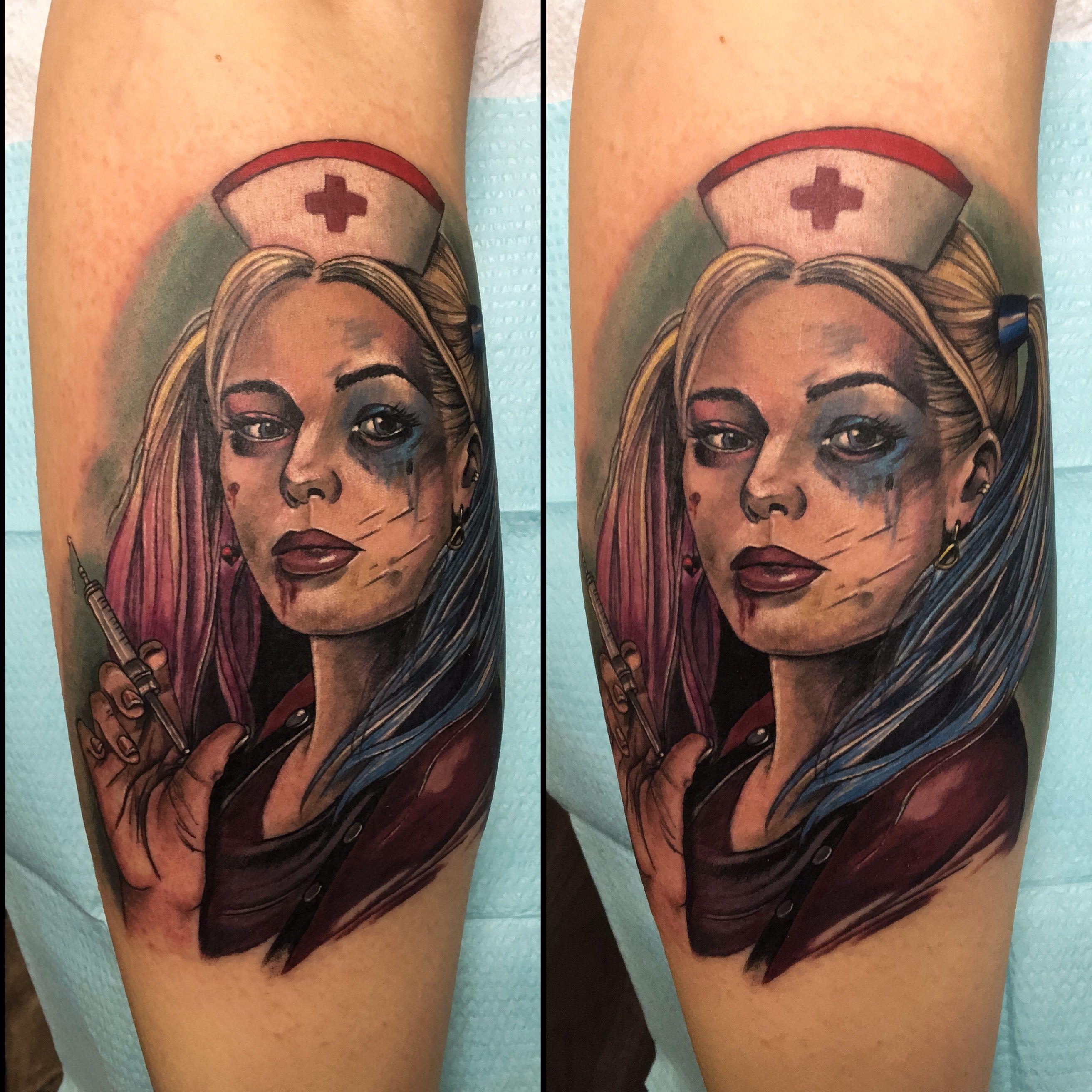 Nurse Harley Quinn tattoo by Meghan Patrick 12oz studios