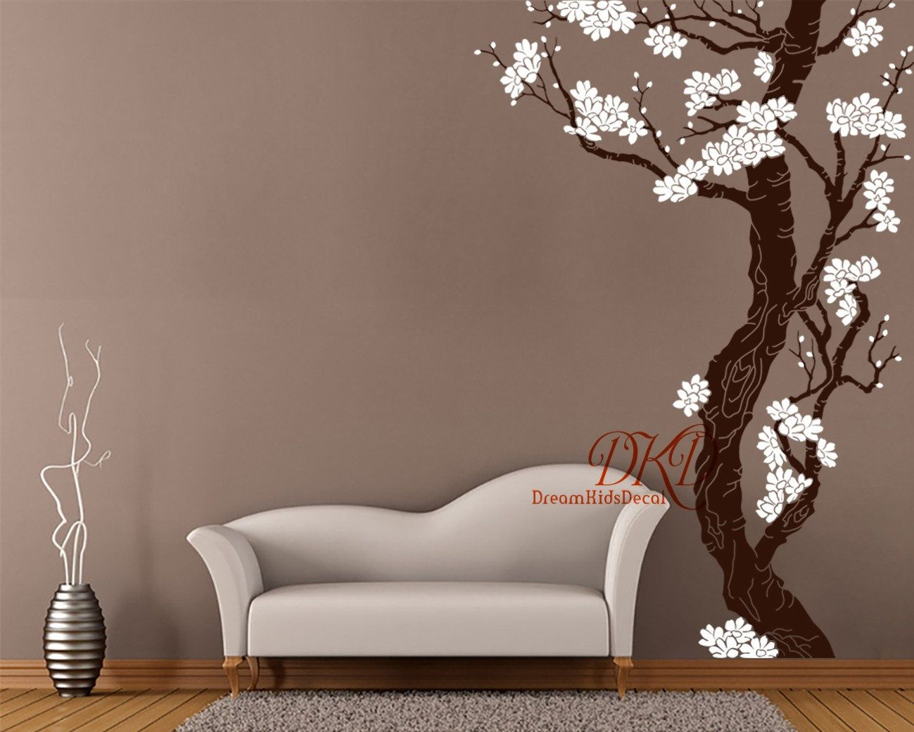 Plum Blossom Tree Wall Decal Large Wall Murals Corner Cherry Etsy Large Wall Murals Vinyl Tree Wall Decal Tree Wall Decal