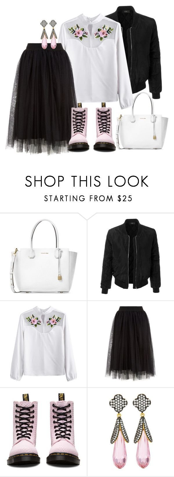 """Pink/Black/White"" by morinef ❤ liked on Polyvore featuring Michael Kors, LE3NO, Dr. Martens and Freida Rothman"