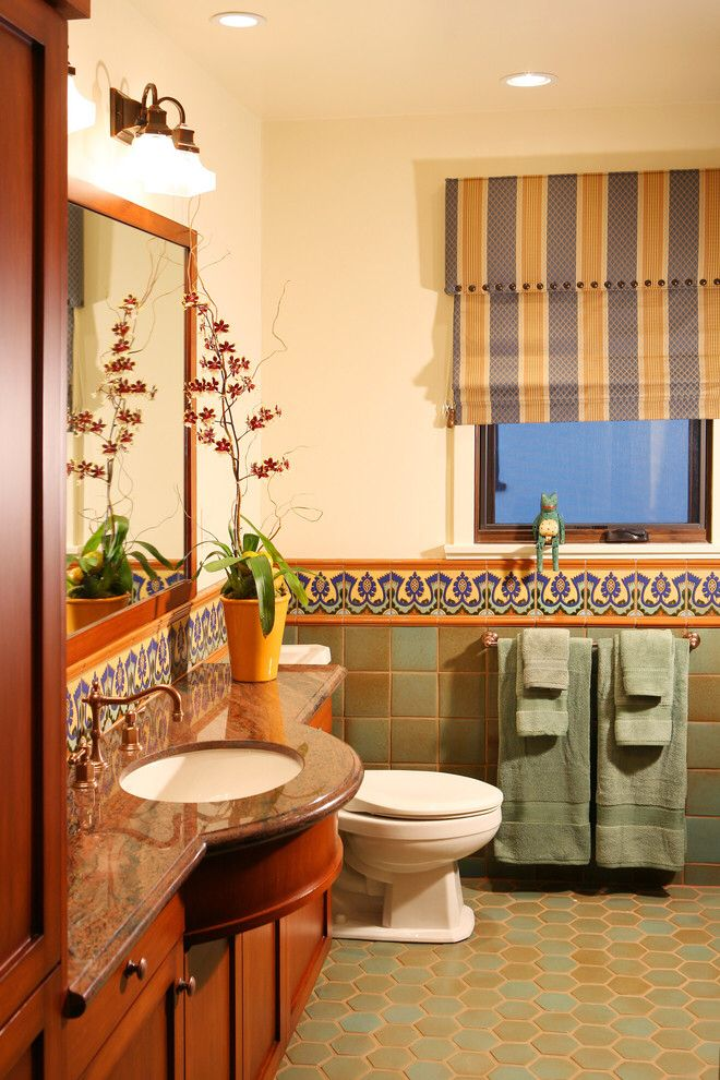 Mediterranean Style Bathroom Warm Tiles Wood Mexican Tile