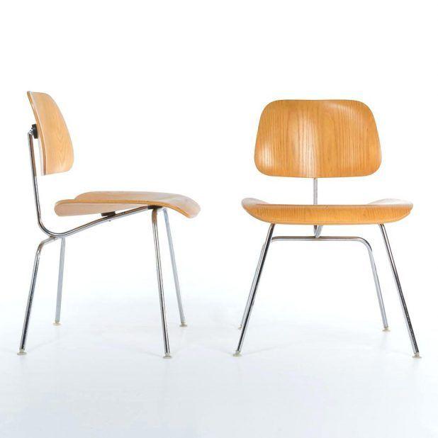 Oak Pair 2 Miller Vintage Original Molded Plywood Dining Chairs Metal Eames Chair Replica Eamesr Dcm Dcw