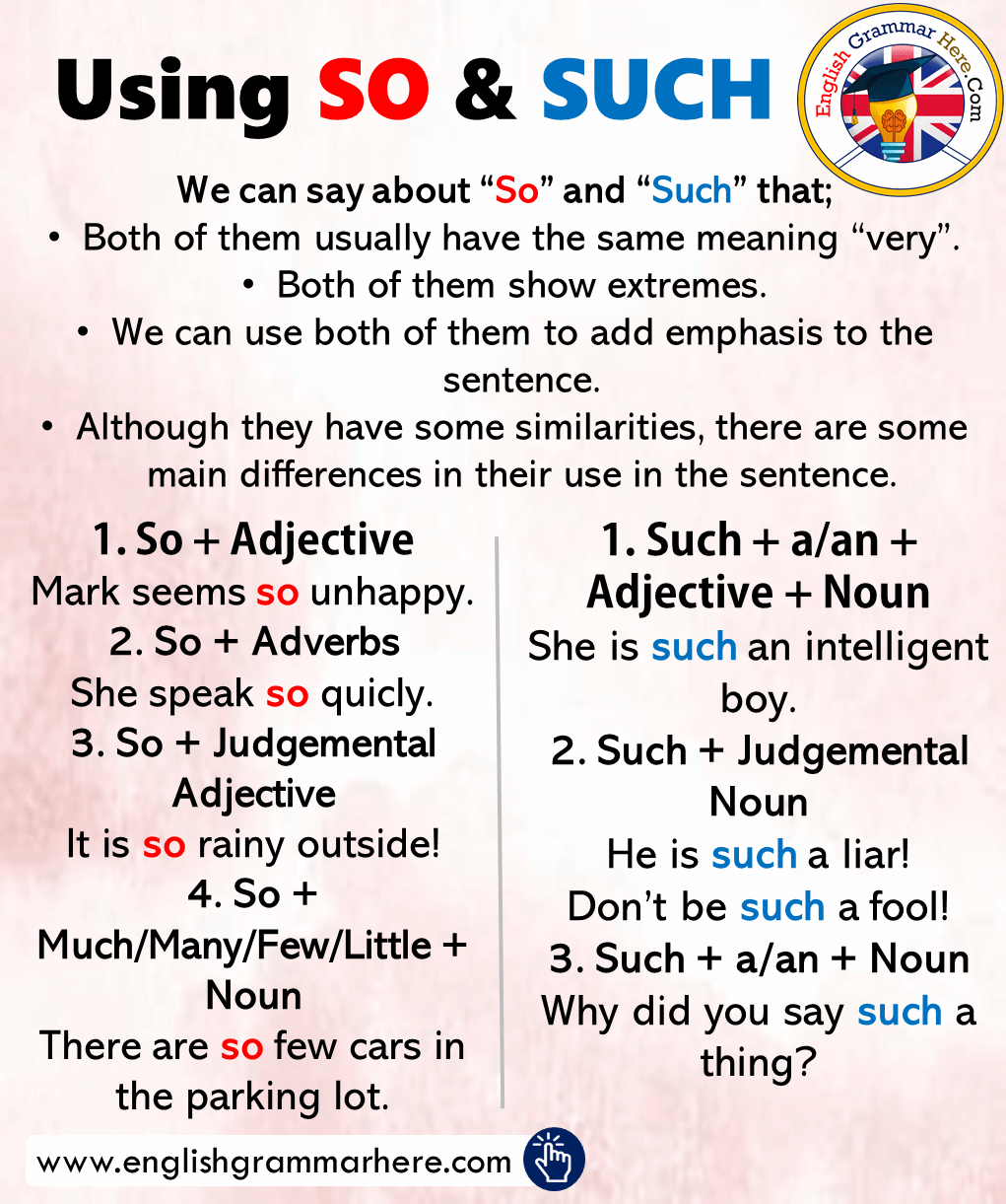 Using SO and SUCH, Examples Sentences English Grammar