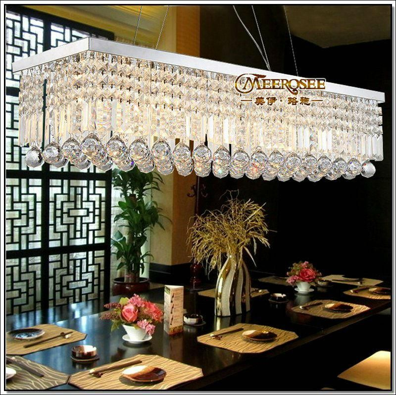long size rectangle crystal pendant light fitting crystal dining light suspension lamp for dining room - Rectangular Pendant Light Dining