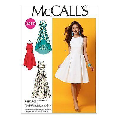 McCalls 6953 Summer Sun Skater Dress Long Short Shaped Hem Sewing ...