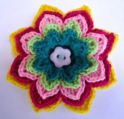 Colorful flower with many layers of petals free pattern | flor ...