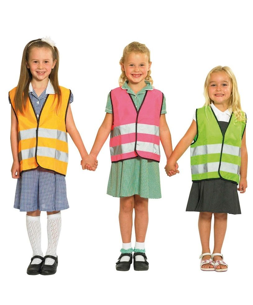 Sicher Safe Childrens Hi Vis Multi Coloured Vests Kinder Sicher Safe