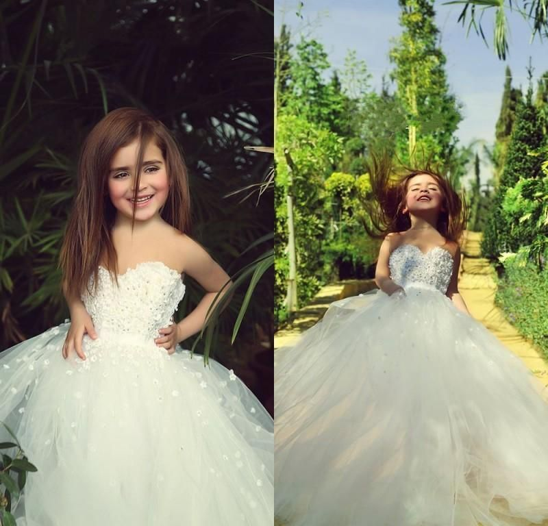 Cheap Ivory White Ball Gown Flower Girl Dresses 3d Floral Applique