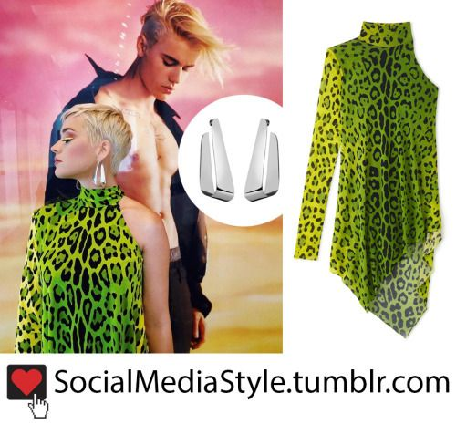 7344cd520fc0 Buy Katy Perry's Silver Earrings and Green Leopard Print Dress from  American Idol here!