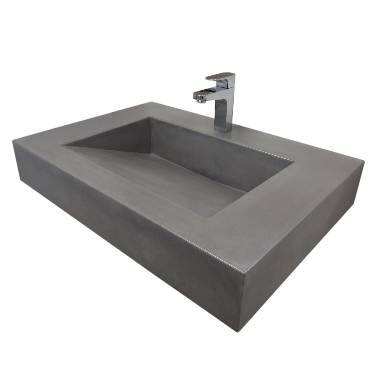 """Trueform 30"""" ADA Floating Concrete Sink designed for a restaurant, bar or hotel and meets requirements for thickness, set backs and clearances. Wharton, New Jersey."""