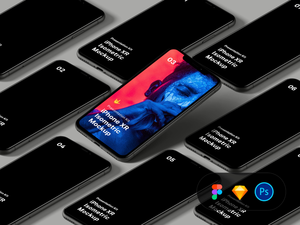 Download Isometric iPhone XR mockups for Figma, Sketch