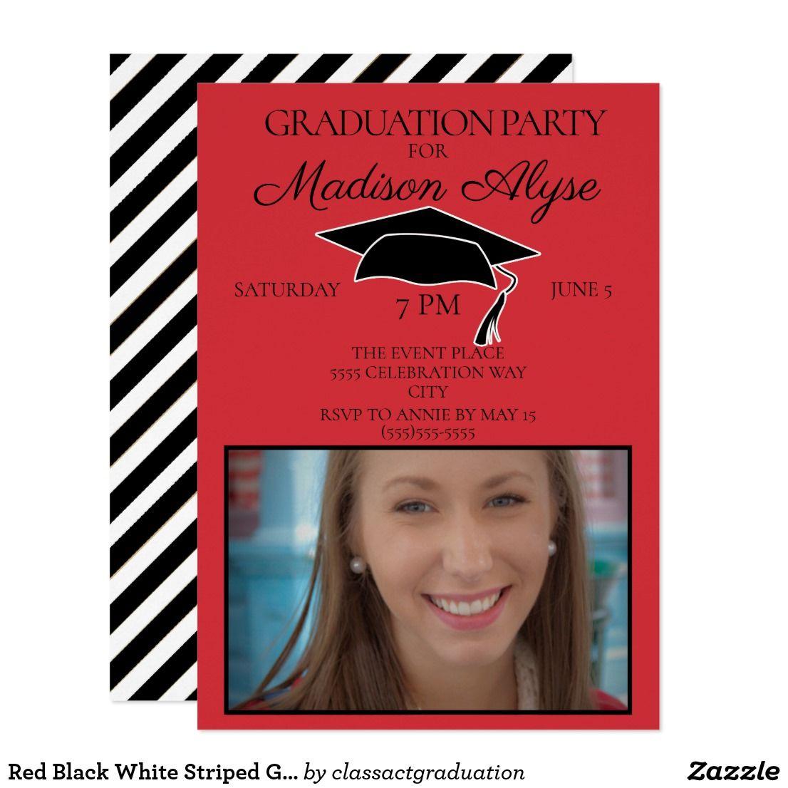 Red Black White Striped Graduation Party Photo Invitation ...