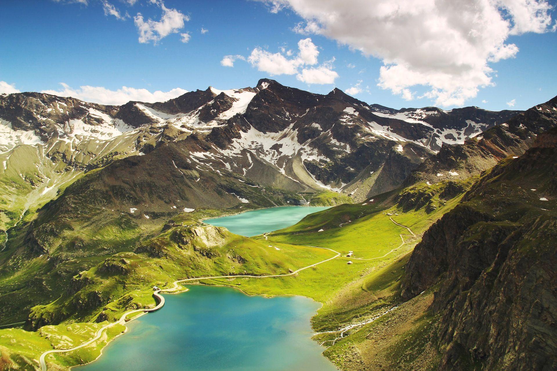 Lago Con Montañas Nevadas Hd: Montañas, Pradera, Lago, Nieve, Italia, Paisaje, Vista