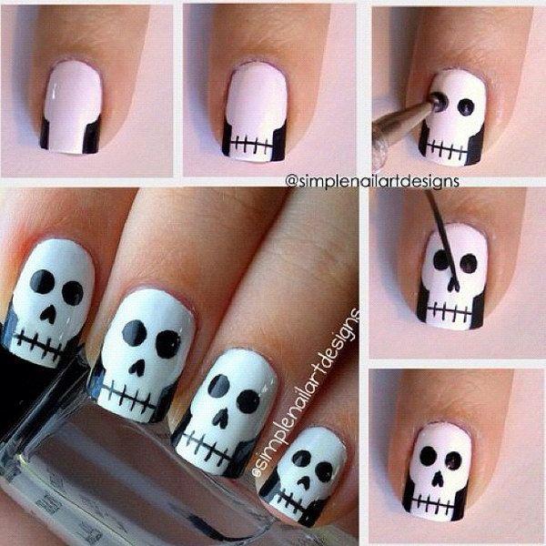 Halloween Skull Nail Art. - 20 Step-by-Step Halloween Nail Art Design Tutorials Skull Nails