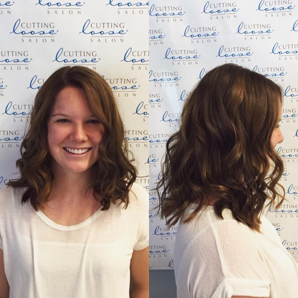 Shoulder Length Curly Hair Balayage Brunette Caramel Highlights Wavy Beachy