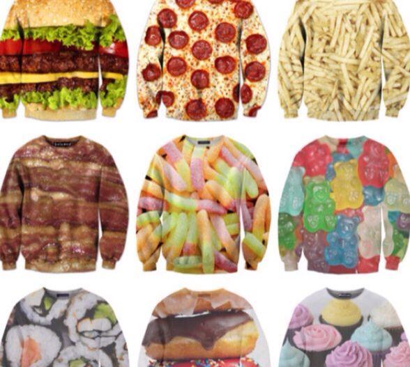 137b8fb3 Food sweatshirts Cheeseburger, pizza, fries, bacon, gummy worms, sushi,  donuts, cupcakes