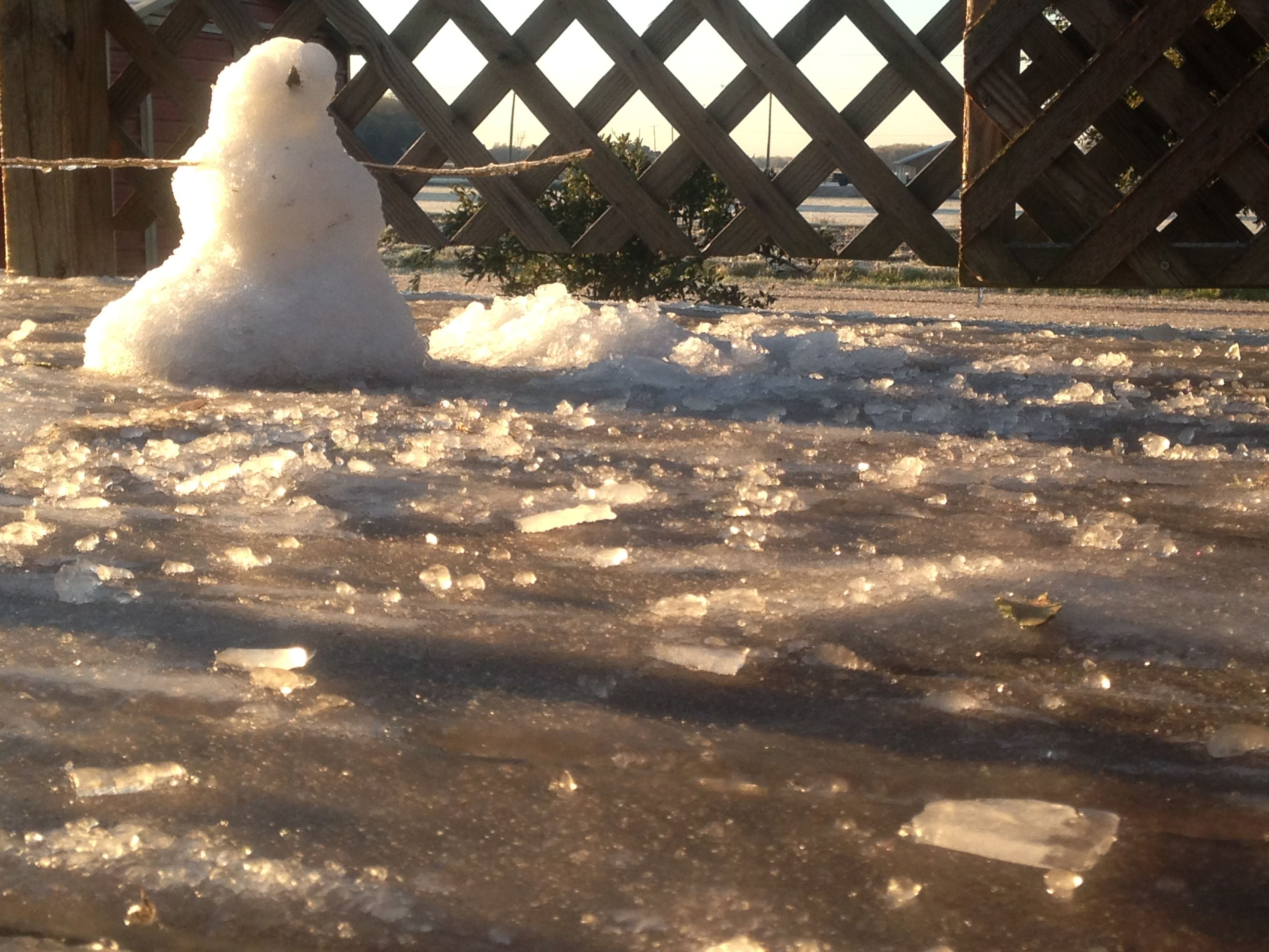 Snowman After Being In The Sun All Day