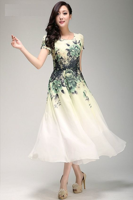 Green Floral Chiffon Dress Tea Length Dress With Short Sleeves