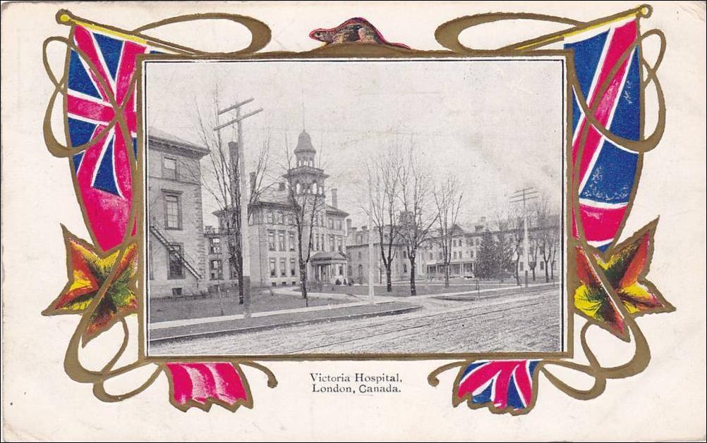 Victoria Hospital London Ontario postcard. Old Hospital at
