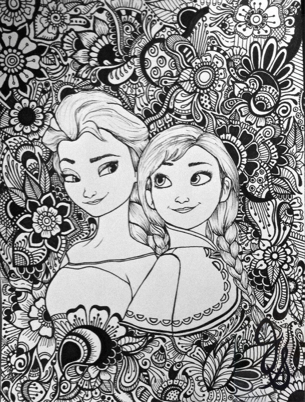 Elsa and Anna Design  Coloriage disney, Mandala disney, Coloriage