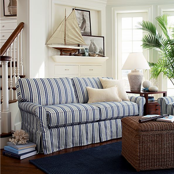 Blue And White Striped Sofa Beachy Nautical Living Room Bayside From Crate Barrel Discontinued