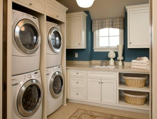 Multiple Washing Machines A Sink Window And Cabinet