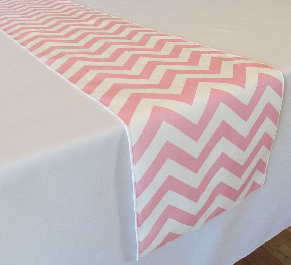 Marvelous Light Pink And White Chevron Table Runner   SELECT A SIZE