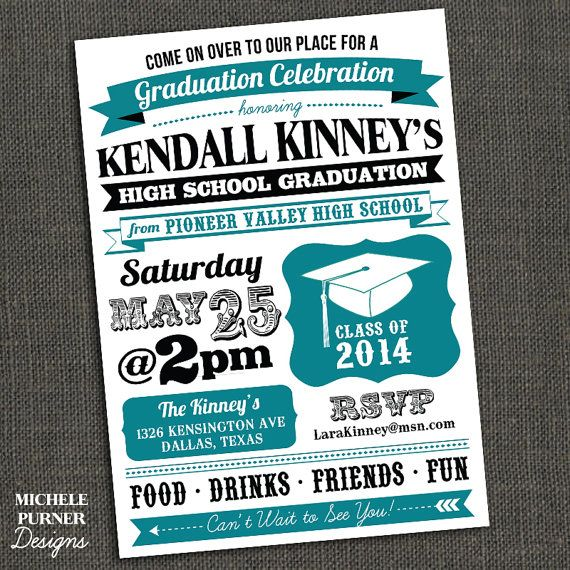 high school or college graduation party by michelepurnerdesigns, Party invitations